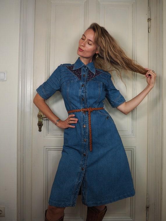 70s denim dress, vintage denim dress, denim dress,