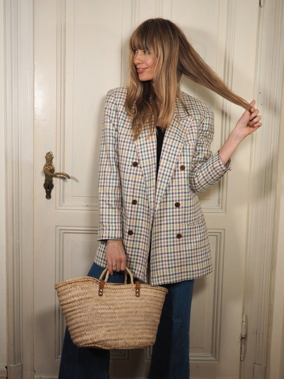 Checkered Blazer, Plaid Blazer, 80s Blazer, Vintag