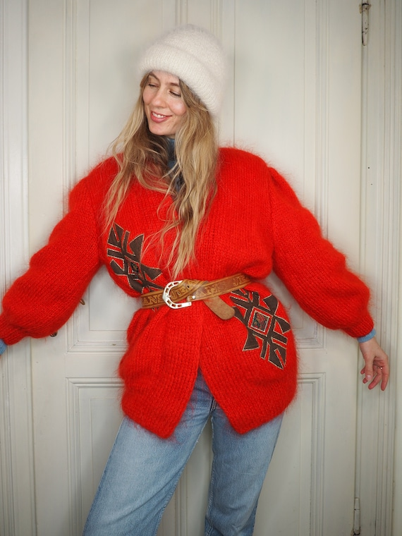 red cardigan, mohair cardigan, cardigans, vintage