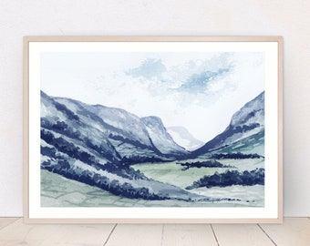Blue Mountains Valley, Landscape Painting, Original Watercolor Painting, Printable Wall Art, Home Office Decor
