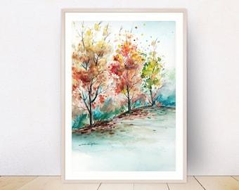 Colorful Landscape Art, Autumn Trees, Printable Wall Art, Watercolor Landscape, Downloadable Print, Digital  Download, Home Office Decor