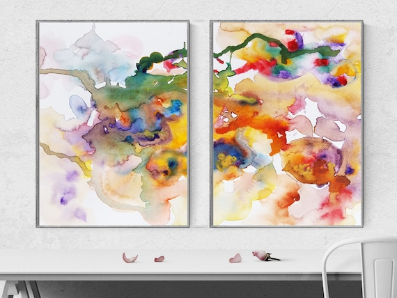 Color Mix Abstract Watercolor Painting Set Of 2 Prints Instant Download Printable Wall Art Home Office Decor