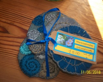 coasters, ammonite, handmade,handstithced, blues and greys, set of four,