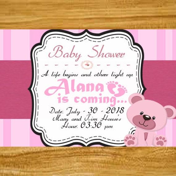 Items Similar To Tarjeta De Invitación Para Baby Shower De Niña