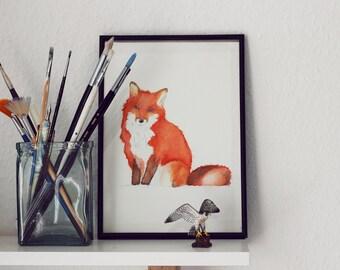 Cute Fox Print * Watercolorpainting *