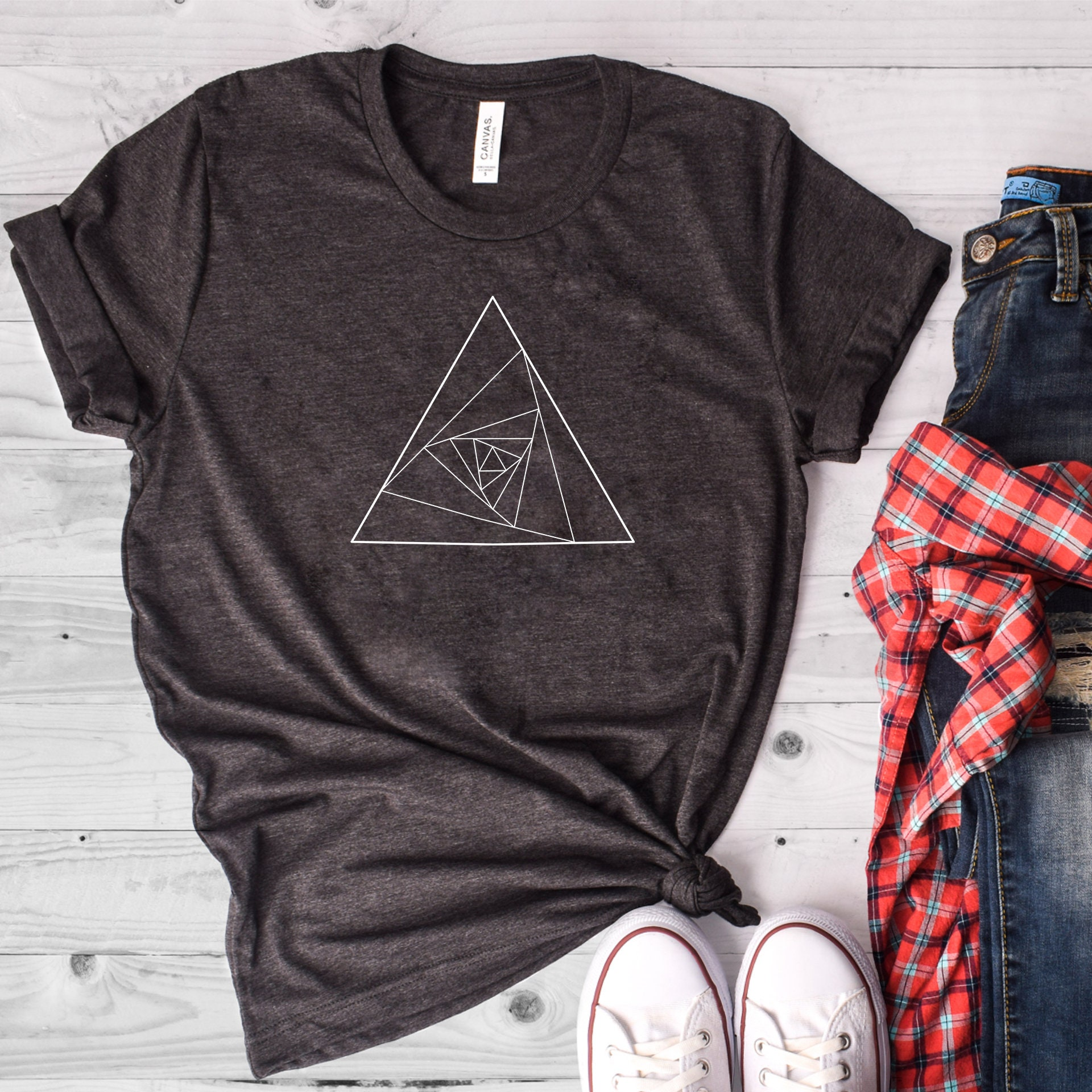 Geometric Triangle Shirt Triangles Shirt Universe Shirt Etsy