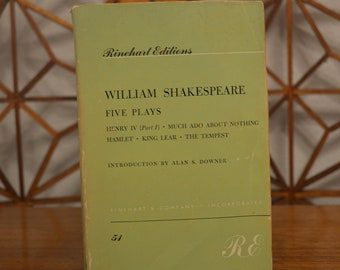 Five Plays // Shakespeare // Alan S Downer // Rinehart // RE // 1958 // Paperback // Vintage