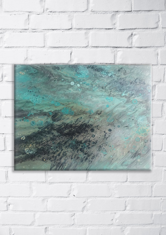 Abstract Canvas Painting Storm Modern Art Fluid Wall Etsy