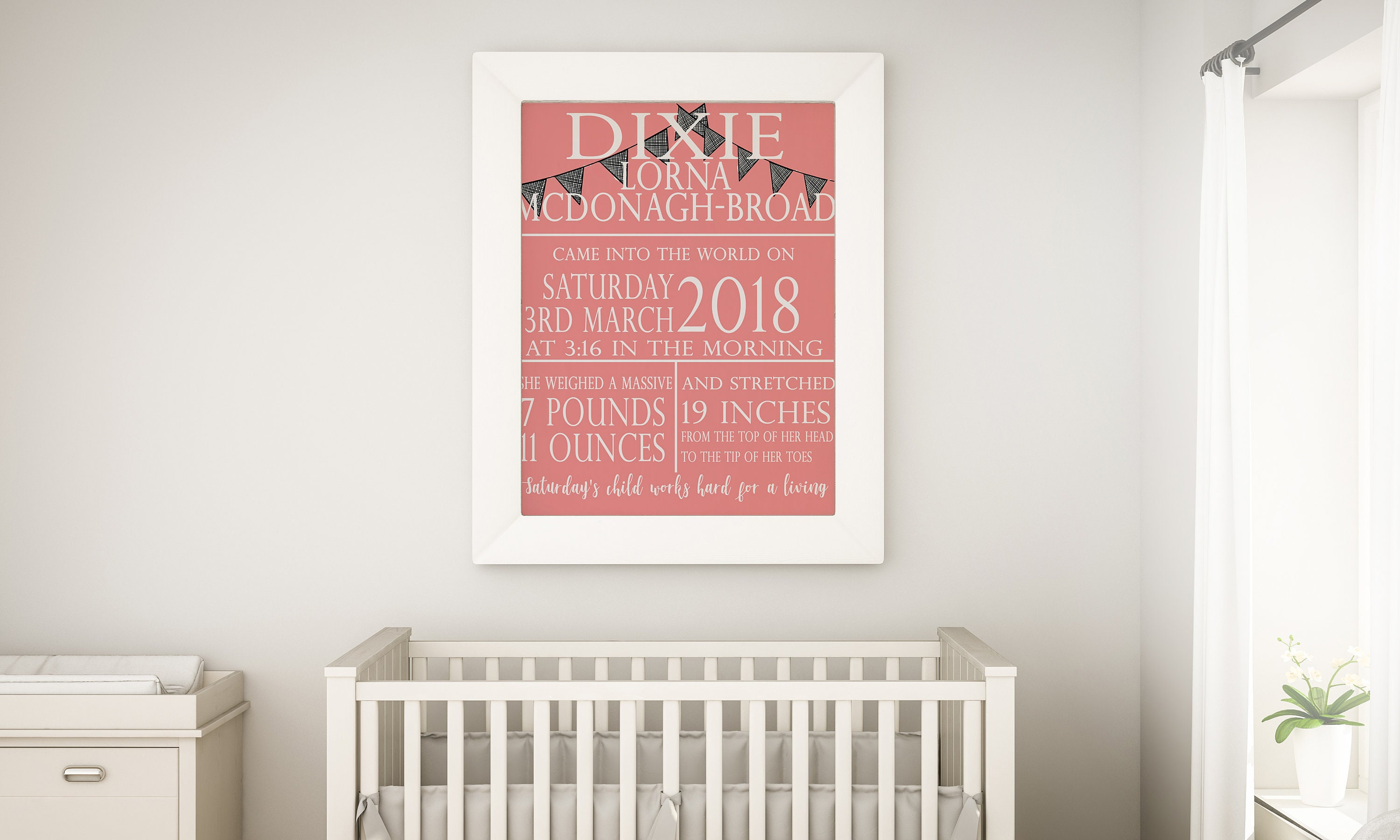 A4 PERSONALISED PRINT BABY SCAN PHOTO NURSERY DECOR WALL ART GIFT FRAMED PRESENT
