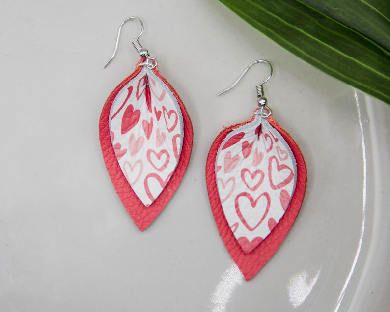Sketchy Hearts Genuine Leather Layered Pinched Petal  Teardrop Earrings  Leather Earrings  Leather Teardrop Earrings  Leaf Earrings
