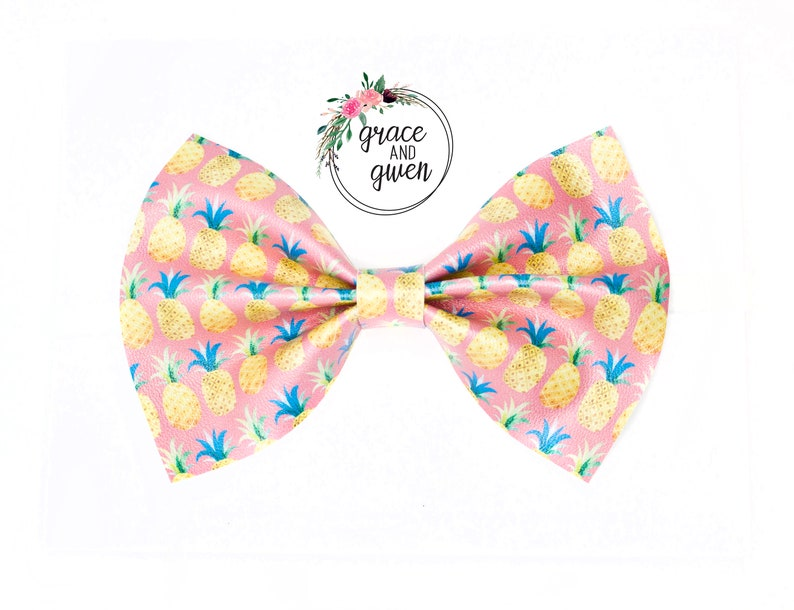 Faux Leather Bows Infant Toddler Newborn Bows Pineapple Hair Bow Pink Pineapple Classic Bow Baby Girl Hair Bows Nylon Headbands