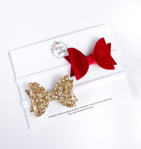Girls Handmade 4 baby//toddler small red gold Glitter Hair Bow clips