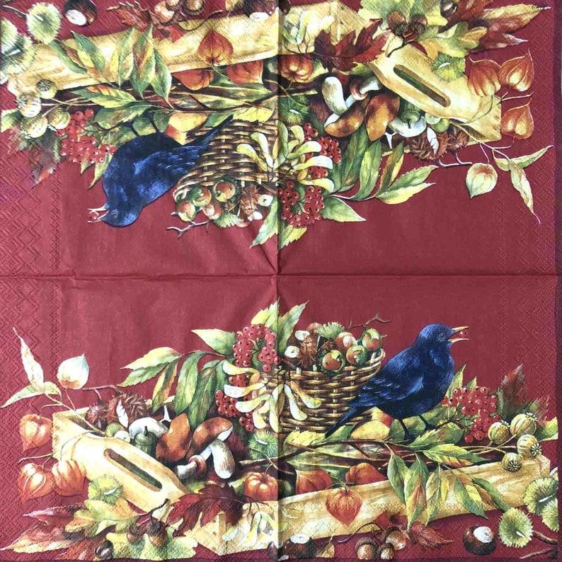 Bird Autumn Vegetables Nuts vintage napkins Paper 1 pcs DIY Decoupage napkins Art paper Scrapbooking paper Art print retro Handmade 13*13#6