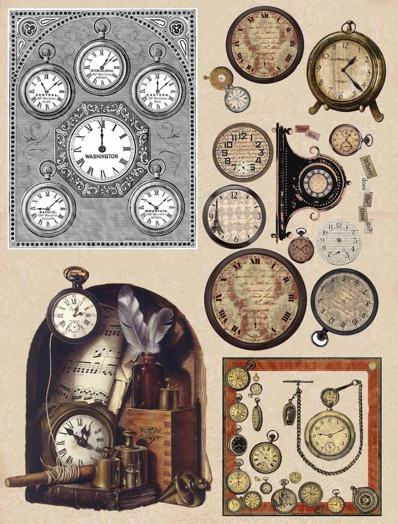 Paper Retro clocks time print scrapbooking  paper Art Decoupage Vintage designer Collage cardboard Handmade home decor napkin 7X11V109