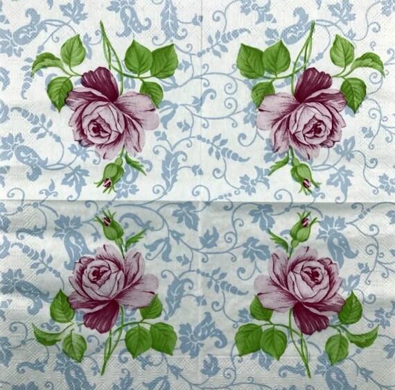 Paper napkin Decoupage napkins Art paper Scrapbooking paper Art print Vintage paper Craft DIY retro Handmade Teatime rose napkins 10*10#13