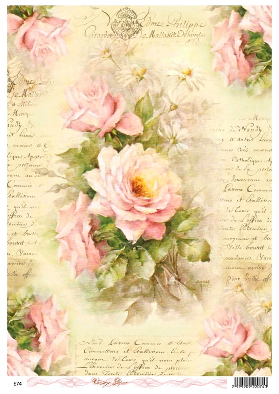 Sheet Craft Vintage Scrapbooking Rice Paper for Decoupage  Romantic Roses 7
