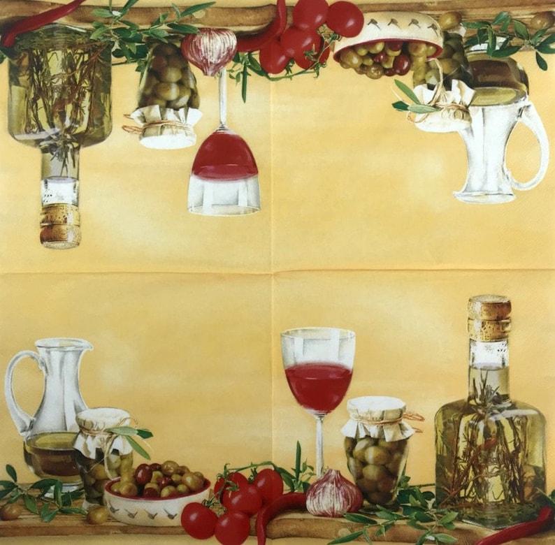 Paper napkin Decoupage napkins Art paper Scrapbooking paper Art print Vintage paper Craft DIY retro Handmade Food olives napkin 13*13#29