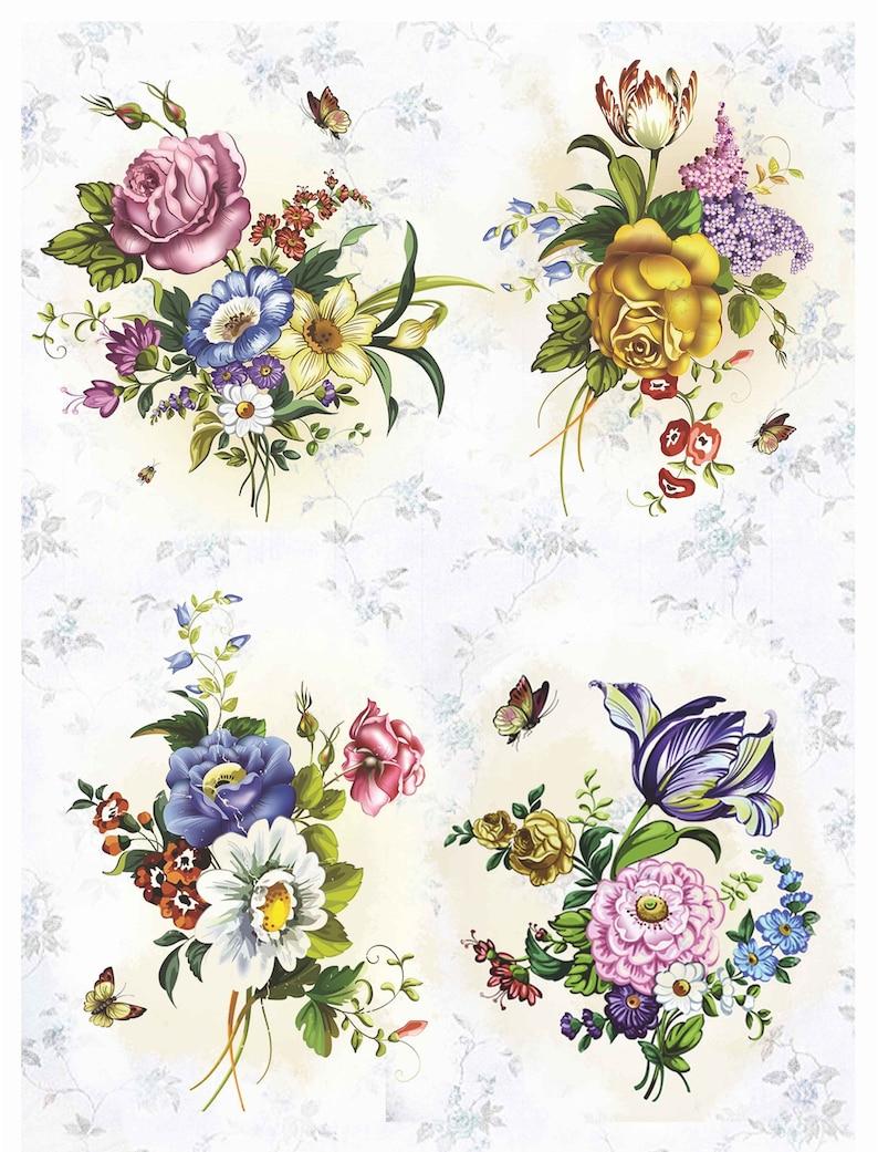 Scrapbooking paper Art  Decoupage napkins Vintage print designer Collage cardboard Craft Handmade homedecor bouquet flower paper 7X11V56