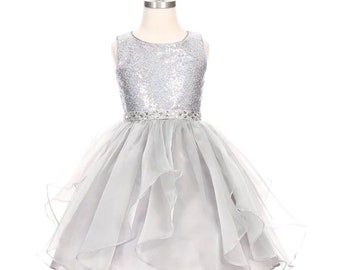 ca43242d Flower Girl Dress,silver sequin Dress,FREE SHIPPING, Silver Dress, Sequin  Dress, Flower Girl,Silver,SEQUIN
