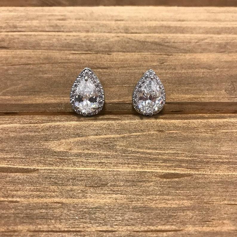9a6fe853f White Crystal Bridal Earrings Wedding Jewelry Teardrop Bride | Etsy