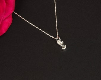 Silver letter S necklace. Birthday initial necklace gift for her, niece, sister, Mum.