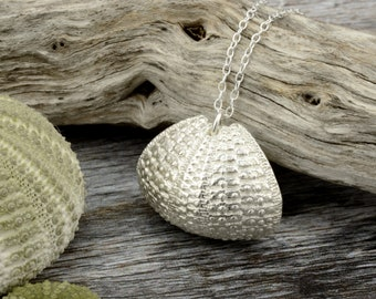 Silver sea urchin necklace. Handmade sea urchin pendant on sterling silver chain. Unique Christmas gift for her, wife.