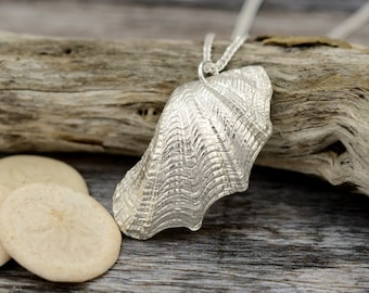 Silver clam shell necklace. Baby giant clam shell necklace. Beautiful gift for wife, mother's day, sister, niece.