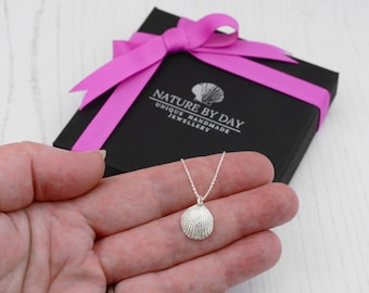 Silver cockle shell necklace. Small cockle shell pendant, perfect Birthday gift for her. A gift of love and friendship.