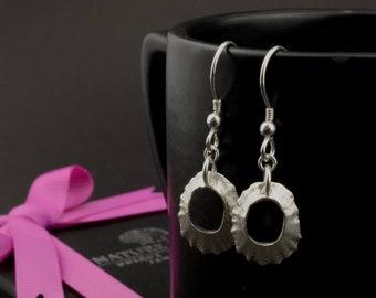 Handmade silver limpet shell earrings. Gift for her.