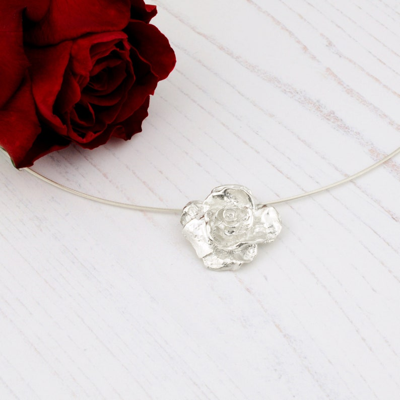 hope /& promise A symbol of love Solid silver rose pendant necklace Flower gift. Handmade silver rose on a sterling silver choker necklet