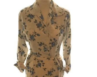 Vintage 1950s/1960s handmade 'shirt waister' / floral shirt dress