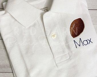 Football Monogrammed Polo Shirt; Fall Polo Shirt; Team Shirt