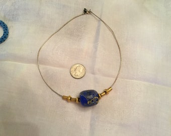 Blue Blown Glass Gold Bead Wire Necklace
