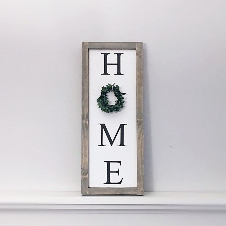 ab91bec5a3c7f Vertical Home Sign - Living Room Wall Decor - Fireplace Decor - Entryway  Sign - Wood Home Sign with Wreath - Vertical Welcome Sign - Framed