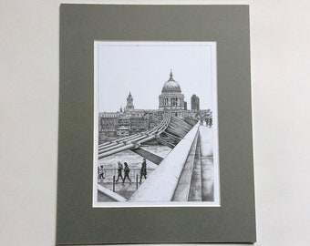 St Paul's Cathedral from Millennium Bridge pencil sketch (mounted print)