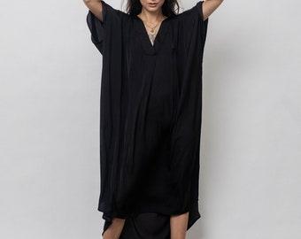 Cercei Kaftan Dress/Black Silk Kaftan Dress/ Loose fit Black dress