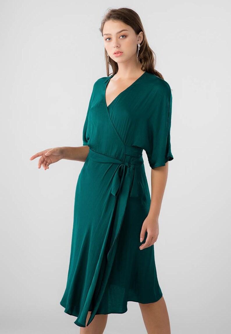 1bb5e0ba54f Lily Wrap Dress Midi Minimalist Dress Bridesmaid Dress