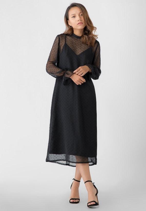 Sheer Dress Long Black Dress Simple Long Dress Etsy