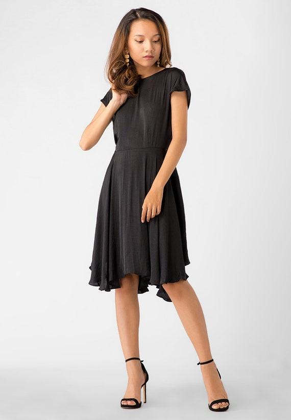 Kayla Little Black Dress Travel Dress Simple Sleeves Dress Etsy
