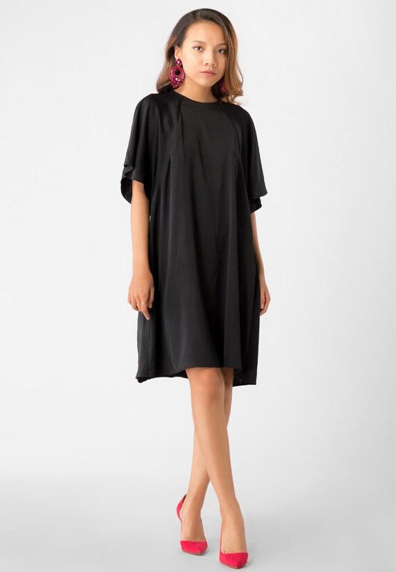 Fiona Little Black Dress Silk Sleeves Dress Dress With Etsy