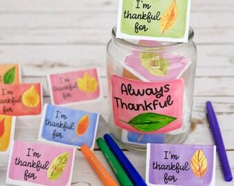 Make Your Own Gratitude Jar - Fall Leaves Theme - Printable Craft