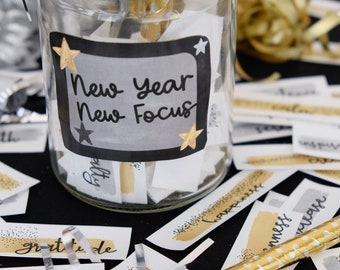 2022 Word of the Year Cards - Focus and Intention Mantras - New Year's Eve Party Activity - Printable Instant Download