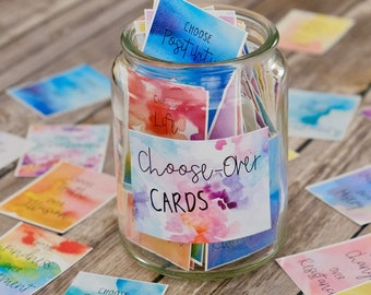Choose Over Cards for Mindfulness and Positivity - Printable Meditation Cards - Self Care Cards - Inspirational Messages -Affirmation Cards