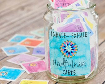 Inhale Exhale Mindfulness and Meditation Cards - Printable Intention Cards - Coping, Relaxation and Calming Cards -Affirmation Vision Board