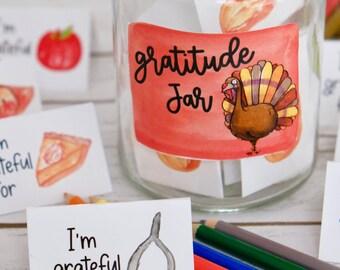 Thanksgiving Gratitude Jar - Family Thanksgiving Activity - Printable Craft