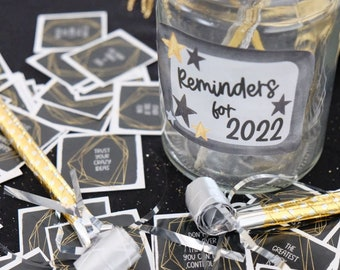 2022 New Year's Inspirational Reminders and Positivity Jar - Printable Instant Download - New Year's Party Activity
