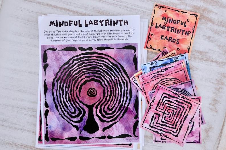 Mindfulness Labyrinth Cards and Pages: Mindful Maze Meditation image 0