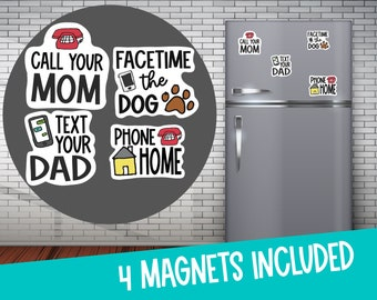 College Care Package - Call Your Mom - Dorm Decoration- Fridge Magnets- Facetime the Dog - Text Your Dad - Reminder Magnets- Military Gift
