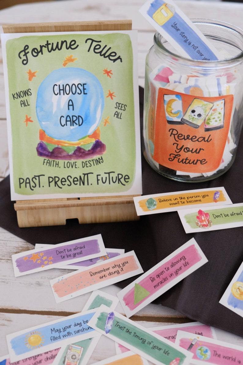 Printable Instant Download Party Game Make Your Own Fortune Telling Jar of Fortune Cards and Good Fortune Positive Messages