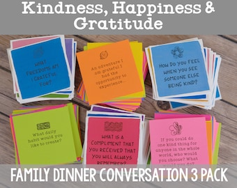 Family Dinner Conversation Starter 3 Pack: Kindness, Happiness and Gratitude - Instant Download